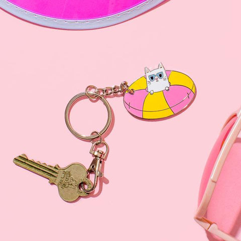 Punky Pins Cool Kitty Enamel Keyring. Because who wouldn't want the coolest kitty on their keys?! Doughnut water float with cat pocking head out wearing sunglasses keyring.