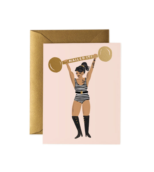 Rifle Paper Co. Nailed It Card, strong girl, well done card
