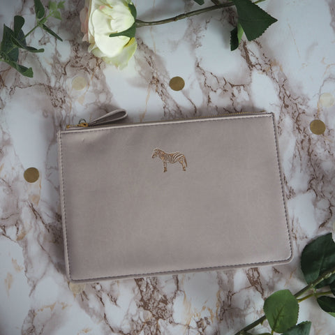 Sky + Miller Grey Zebra Pouch, soft leather, faux leather, clutch bag, travel accessory, handbag organiser