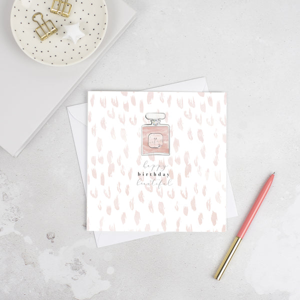 Studio Seed Happy Birthday Beautiful Greeting Card Send someone special this beautifully designed perfume bottle birthday card a Swarovski crystal gem.  Supplied with a white envelope. Chanel perfume bottle design, luxury greeting card.