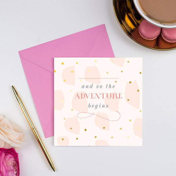 Studio Seed And So the Adventure Begins Card, Gold foil cards, luxury greeting cards, wedding cards,