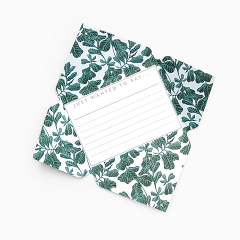 Tuppence Collective Botanical Green Leaf Telegram Card, fold and mail letter writing paper