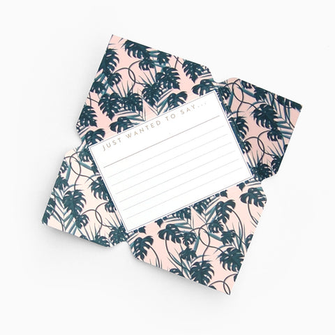 Tuppence Collective Pink Tropical Palm Leaves Telegram Card