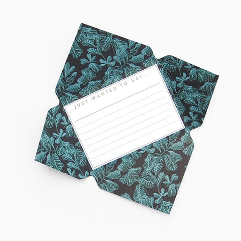 Tuppence Collective Botanical Blue Leaf Telegram Card, fold and mail letter writing paper