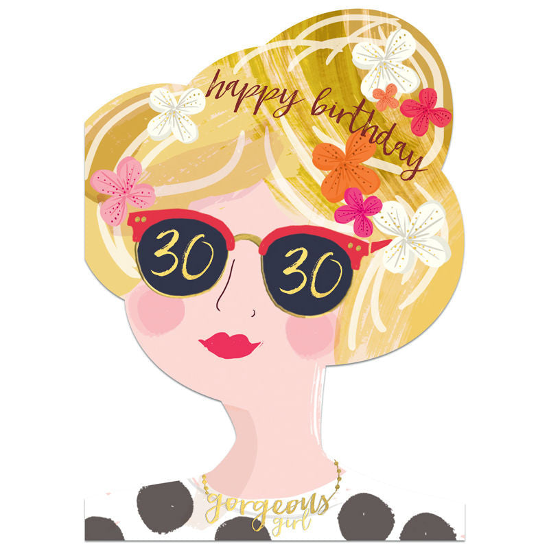 Winged Hat 30th Birthday Girl Card