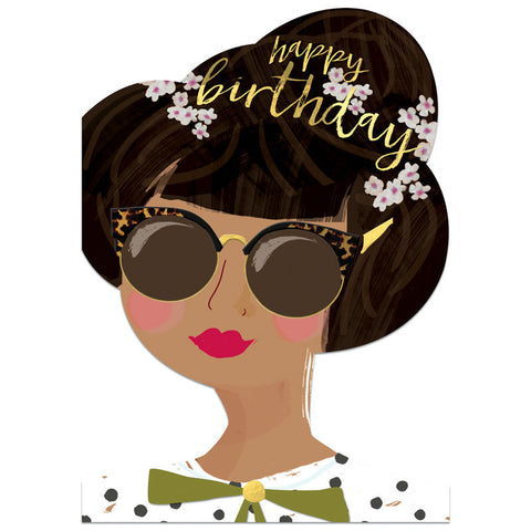 Winged Hat Brown Hair Birthday Girl Card
