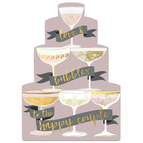 Winged Hat Champagne Tower Wedding Card