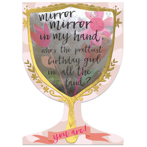 Winged Hat Mirror Mirror Birthday Card