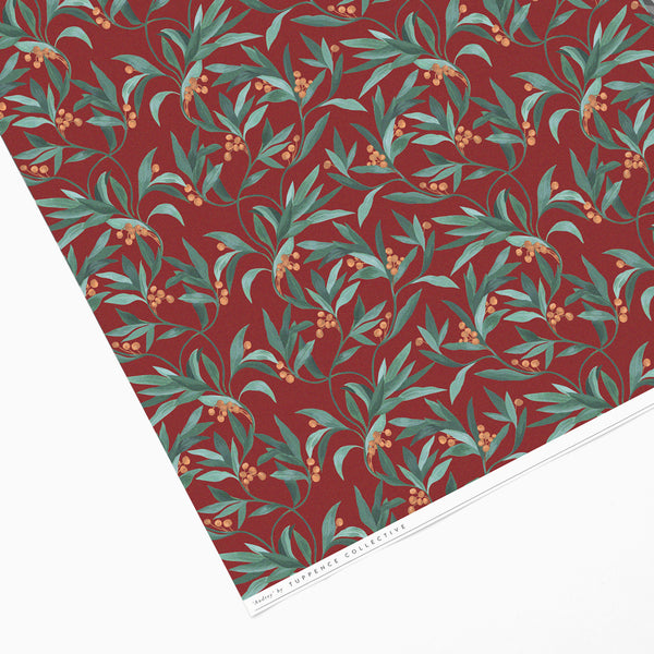 Tuppence Collective Berry Botanical Red Print Wrapping Paper Sheet