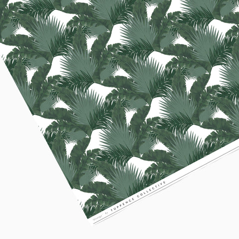 Tuppence Collective Palm Leaves Dark Green Print Wrapping Paper Sheet