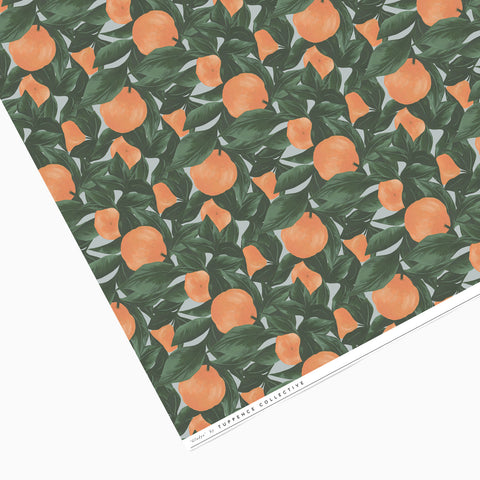 Tuppence Collective Orange Fruit Dark Leaf Print Wrapping Paper, botanical leaf print wrapping paper, stationery