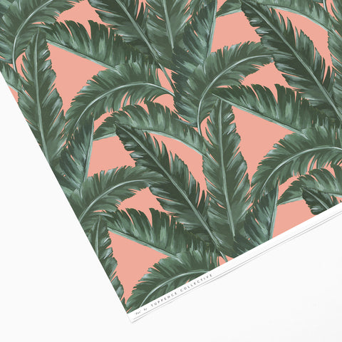 Tuppence Collective Tropical Pink Banana Leaf Print Wrapping Paper Sheet