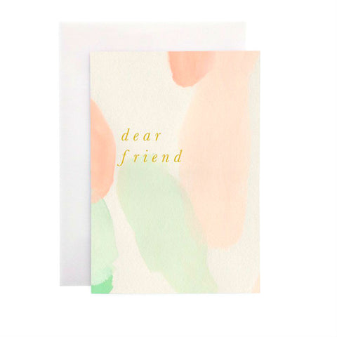 Wanderlust Paper Co Peach and Mint Dear Friend Greeting Card Beautiful hand painted peach and mint design card with the words Dear Friend in gold foil lettering. All cards are accompanied by a unique translucent envelope to show the card design. Card is blank inside.