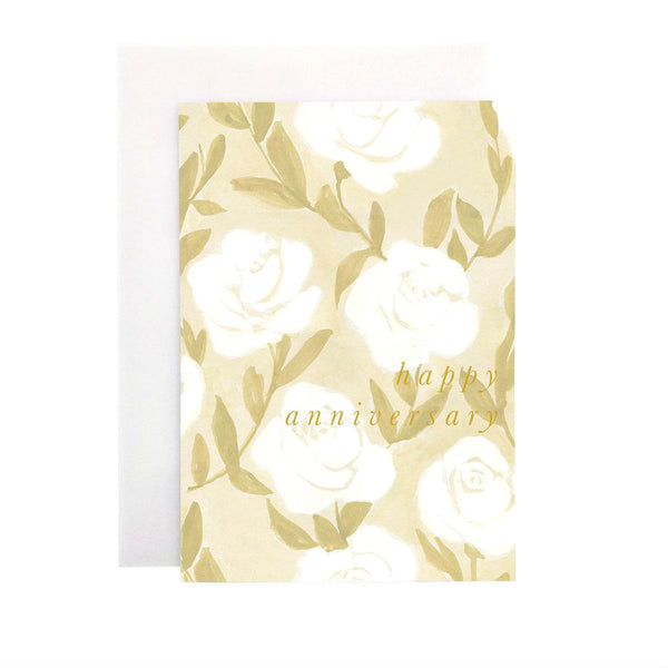Wanderlust Paper Co White Rose Happy Anniversary Greeting Card Beautiful hand painted white rose floral design card with the words Happy Anniversary in gold foil lettering. All cards are accompanied by a unique translucent envelope to show the card design. Card is blank inside.
