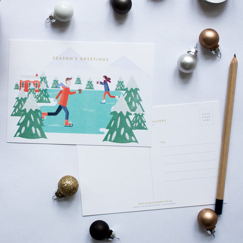 Duke & Rabbit Christmas Skaters Postcards Pack of 10