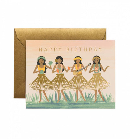 Rifle Paper Co. Hula Girls Birthday Card, 4 Hula Girls with Gold Foil Skirts