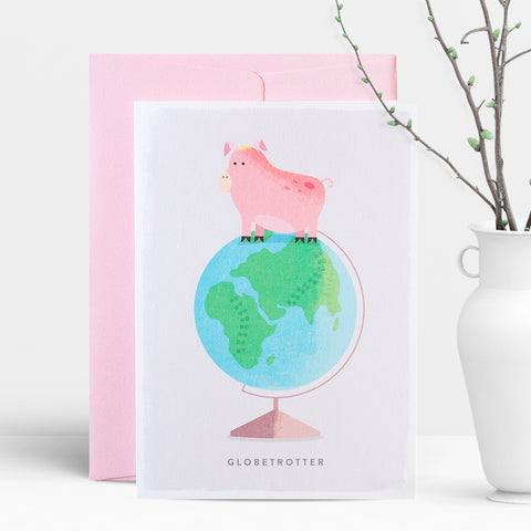 Duke & Rabbit Globetrotter Greeting Card, good luck, travelling, gap year back packing greeting card, world is your oyster