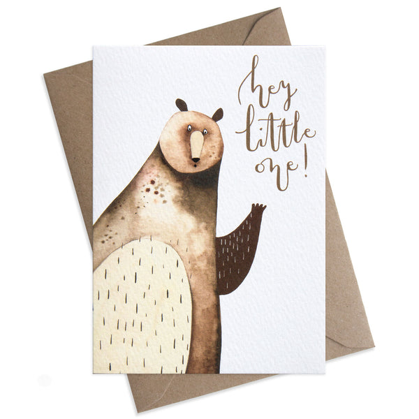 "Paper Parade Hey Little One Greeting Card This beautifully illustrated bear card with the words ""Hey Little One"" is perfect for welcoming the new baby.   Card is blank and is supplied with a brown envelope, luxury greeting card. Baby Boy, Baby Girl, neutral baby card."
