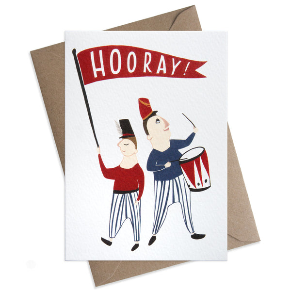 "Paper Parade Hooray Greeting Card This beautifully illustrated card with the words ""Hooray"" is perfect to congratulate your love ones for their achievements.   Card is blank and is supplied with a brown envelope, circus, luxury greeting cards"