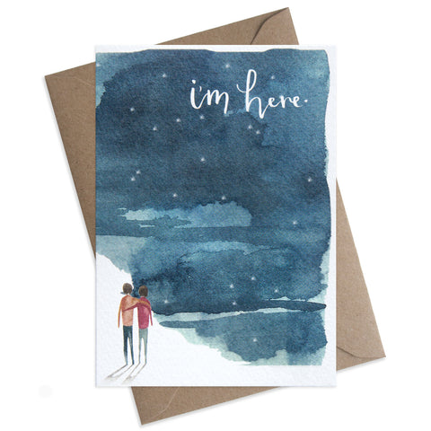 "Paper Parade I'm Here Greeting Card This beautifully illustrated card with the words ""I'm Here"" is perfect to let someone special know you are always there for them.   Card is blank and is supplied with a brown envelope, with sympathy card, luxury greeting card."