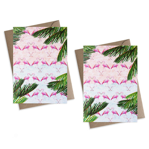 Paper Parade Flamingo Greeting Cards - Set of 8 These beautifully illustrated flamingo greeting cards are perfect to send to your loved ones/  Cards are blank and is supplied with a brown envelope. Luxury greeting cards, blank greeting cards.
