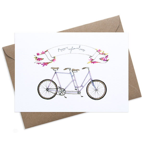 "Paper Parade Room for Two Tandem Bike Greeting Card This card has a beautiful illustration of a tandem bike with the words ""Room for Two"" for a love one at valentines or even a wedding day card.   Card is blank and is supplied with a brown envelope, luxury greeting card."
