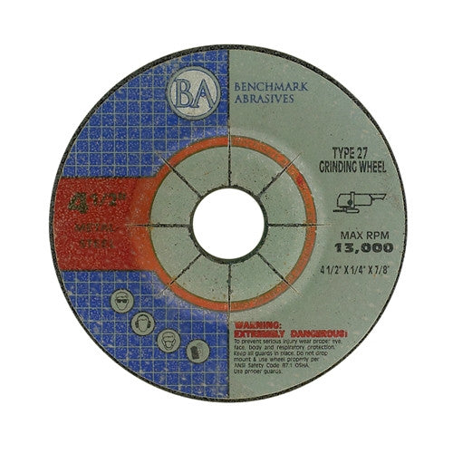 "4 1/2"" x 1/4"" x 7/8"" T27 Depressed Center Grinding Wheel - 1400 pieces"