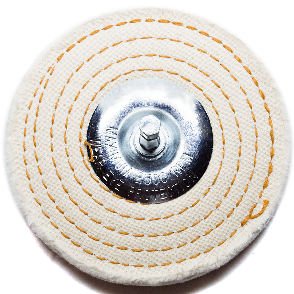 "4"" x 1/4"" Mandrel - Cotton Spiral Sewn Buffing Wheel"