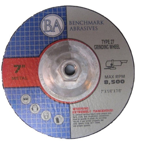"7"" x 1/4"" x 5/8""-11 T27 Hub Depressed Center Grinding Wheel - 5 pack"