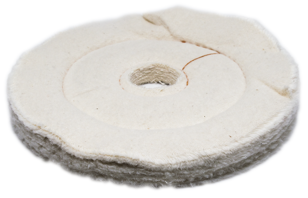 "6"" x 1/2"" x 1"" Flannel Cushion Sewn Buffing Wheel"