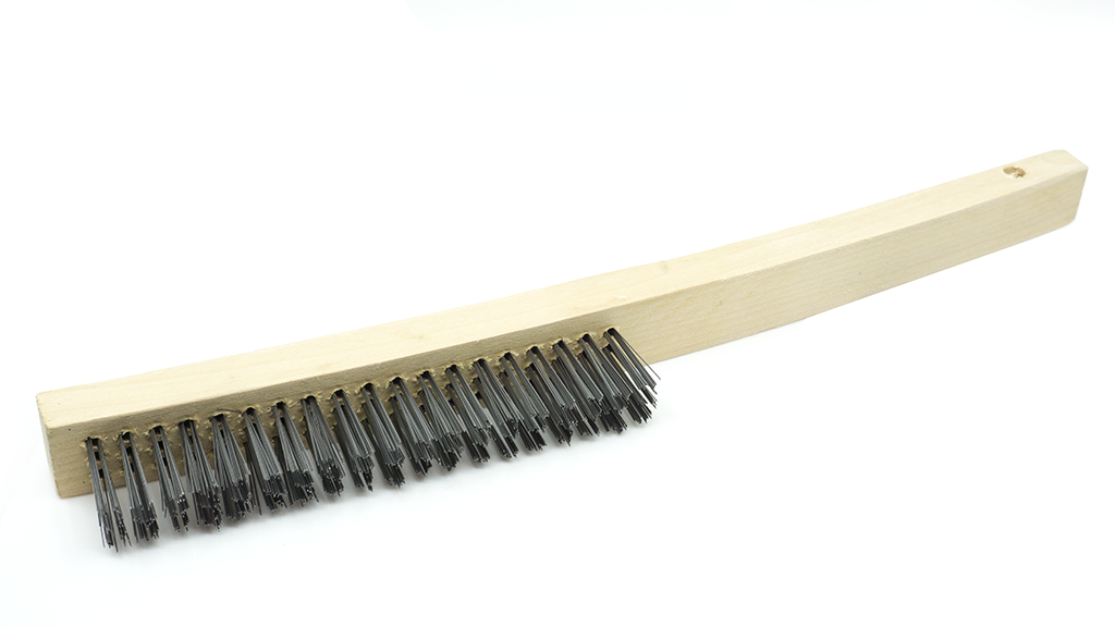 Wire Scratch Brush with Curved Handle - Carbon Steel