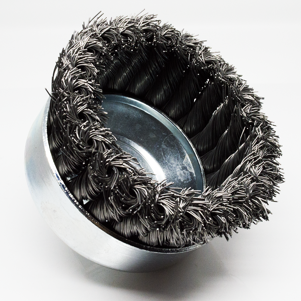 "4"" x 5/8""-11 Knotted Cup Brush - Carbon Steel"