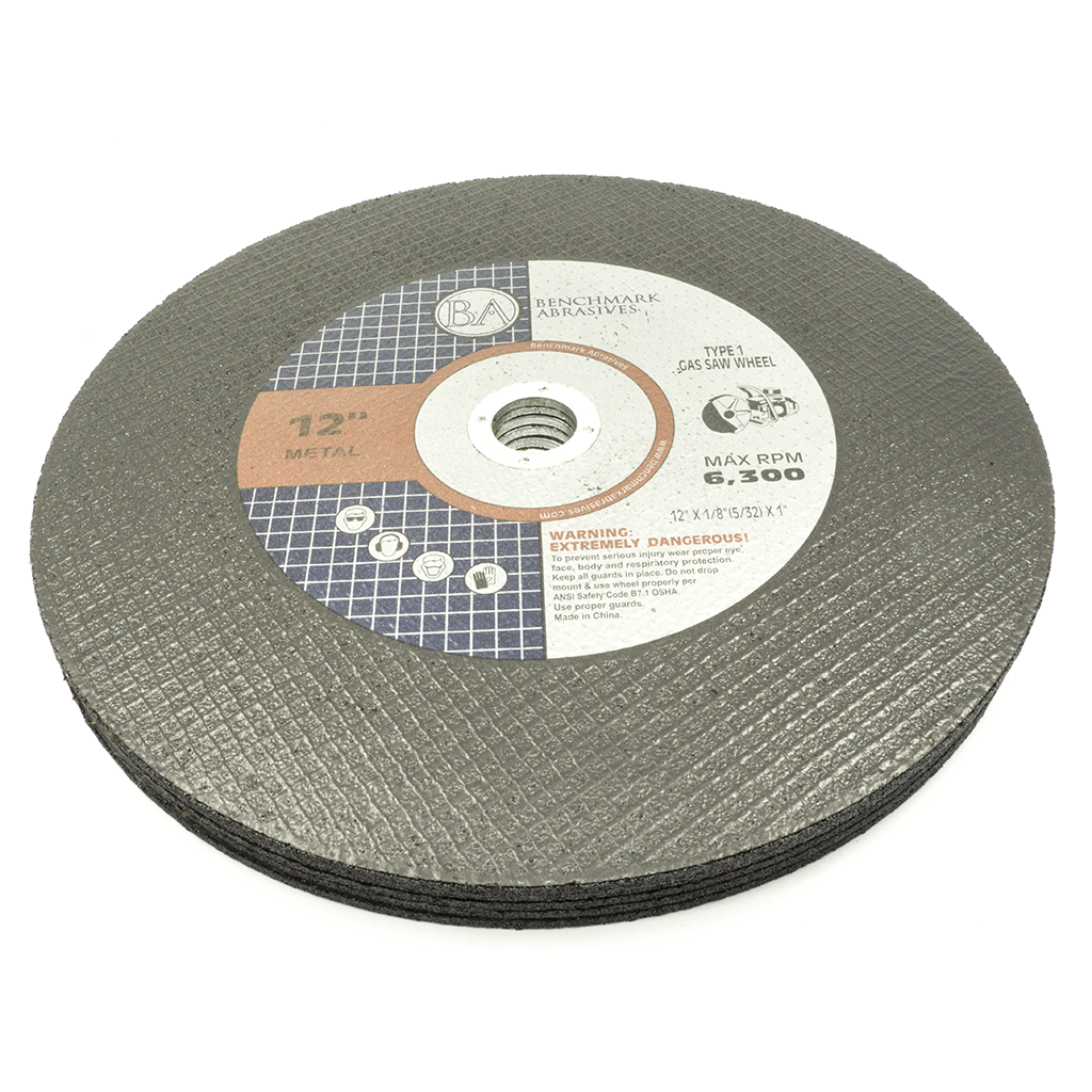 "12"" x 1/8"" (5/32"") x 1"" T1 High Speed Gas Saw Wheel - 10 Pack"