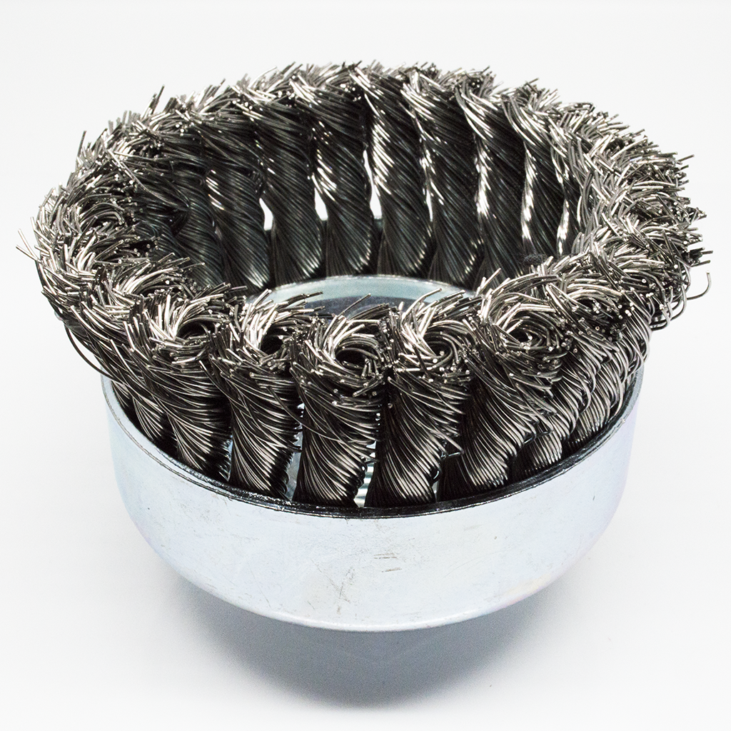 "4"" x 5/8""-11 Knotted Cup Brush - Stainless Steel"