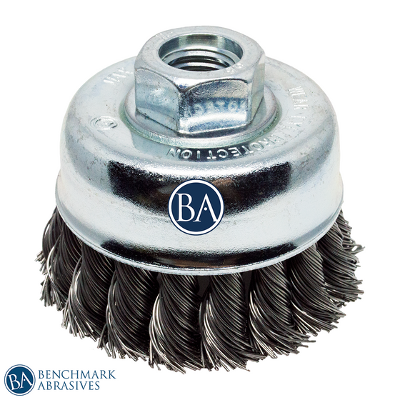 "2-3/4"" x 5/8""-11 Knotted Cup Brush - Carbon Steel"