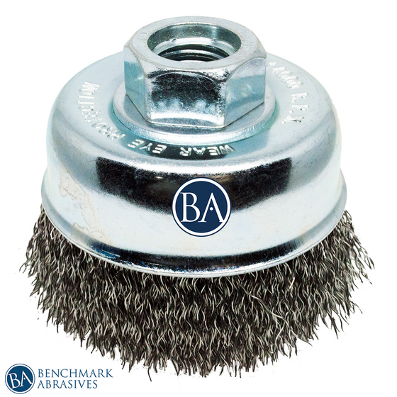 "2-3/4"" x 5/8""-11 Crimped Cup Brush - Stainless Steel"