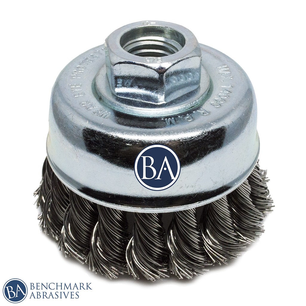 "2-3/4"" x 5/8""-11 Knotted Cup Brush - Stainless Steel"
