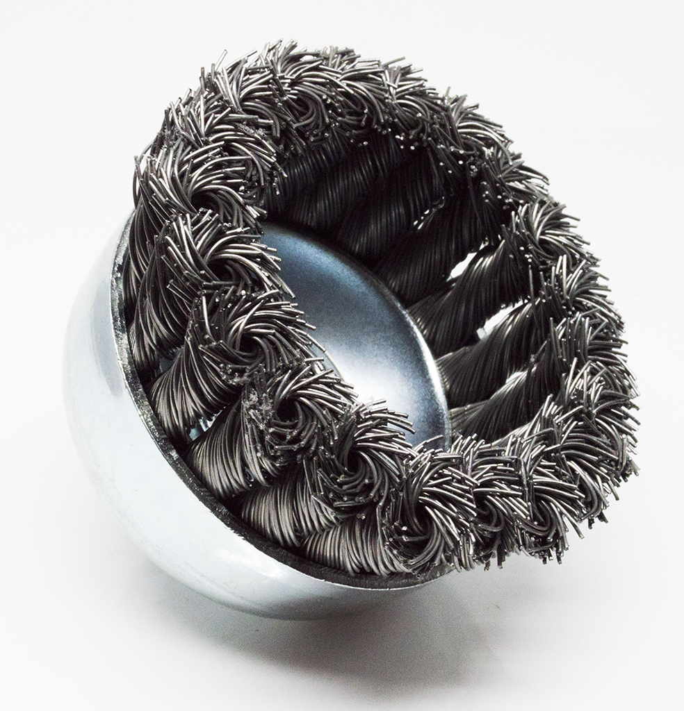 "3"" x 5/8""-11 Knotted Cup Brushes, Carbon Steel"
