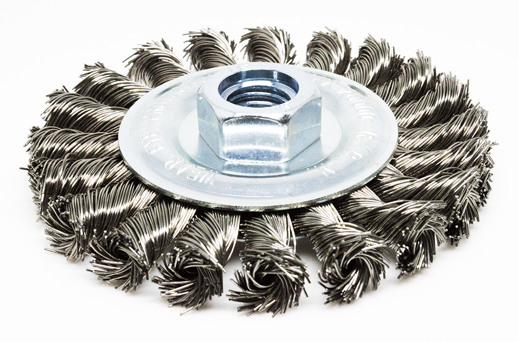 "4"" Standard Twist Knot Wire Wheel - Stainless Steel"