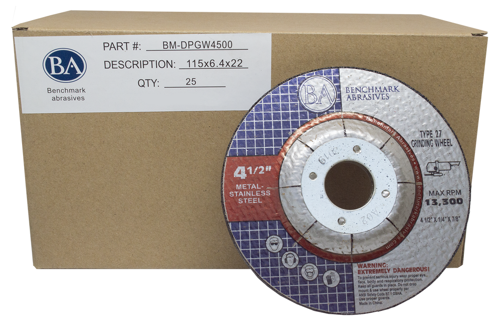 "4-1/2"" x 1/4"" x 7/8"" T27 Depressed Center Grinding Wheel - 25 pack"