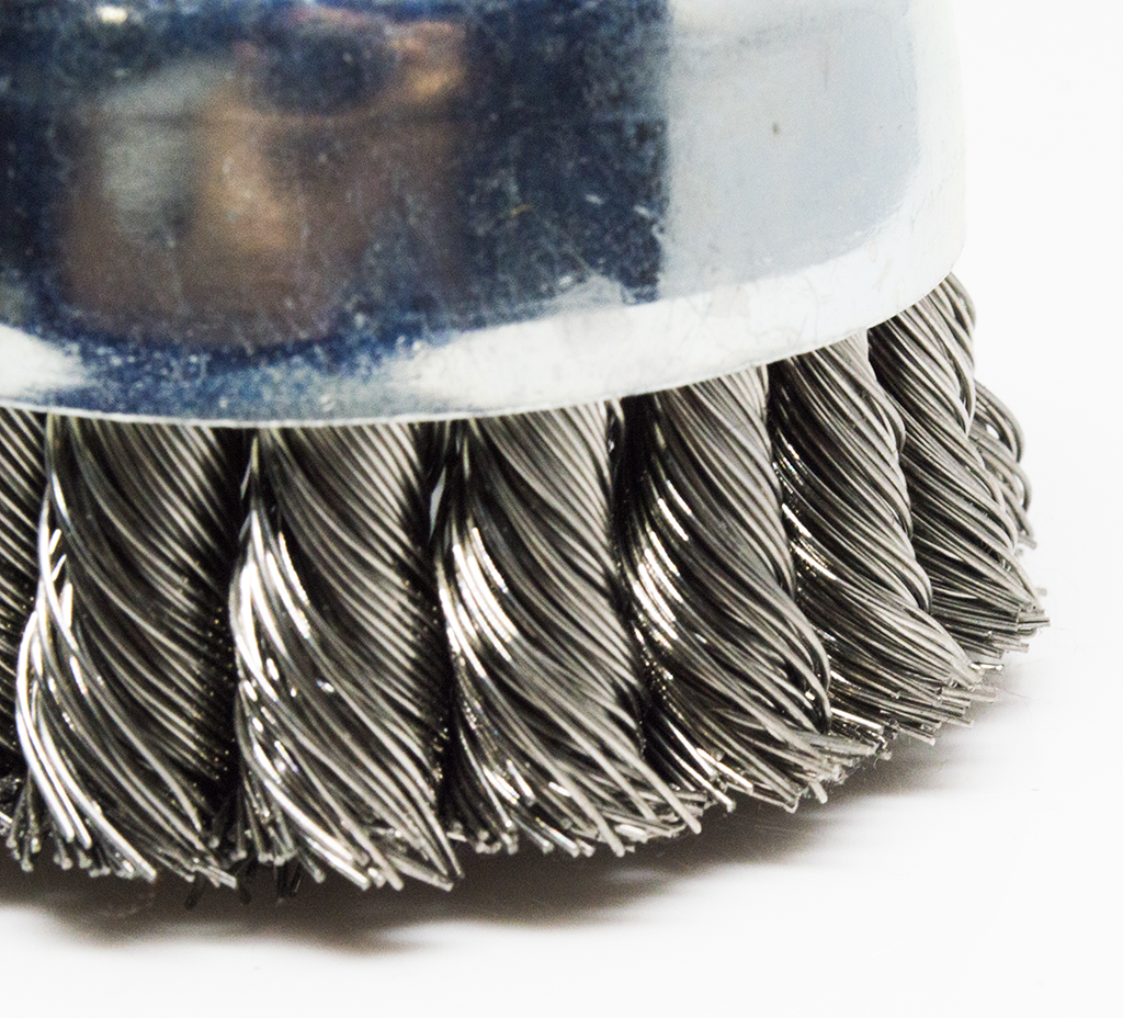 "3"" x 5/8""-11 Knotted Cup Brush - Stainless Steel"