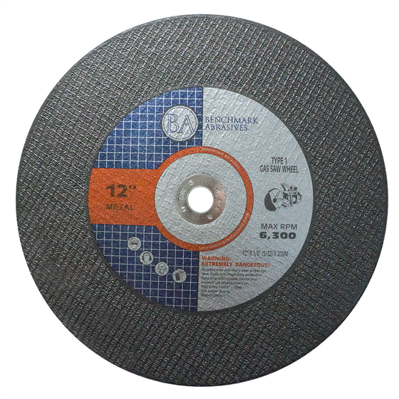 "12"" x 1/8"" (5/32"") x 20MM T1 High Speed Gas Saw Wheel - 10 Pack"