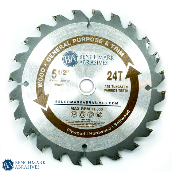 "5-1/2"" 24 Tooth TCT Saw Blade for General Purpose Cutting & Trimming"