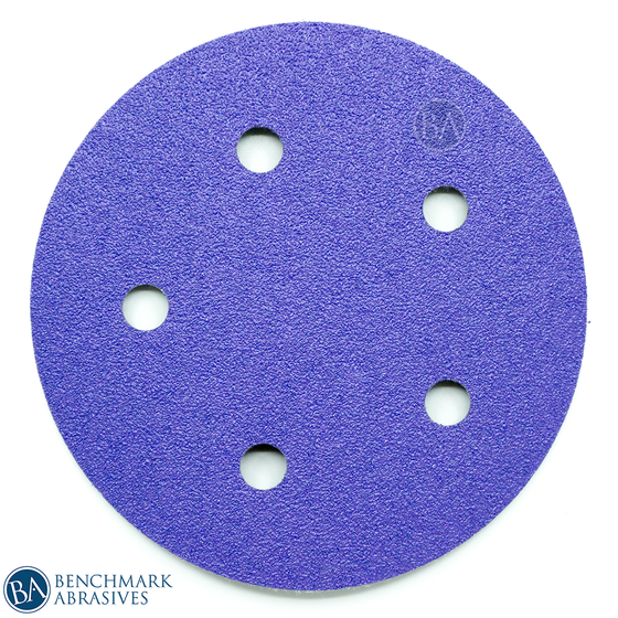 "5"" Premium Purple Film Backed 5 Hole Hook & Loop Discs - 50 Pack"