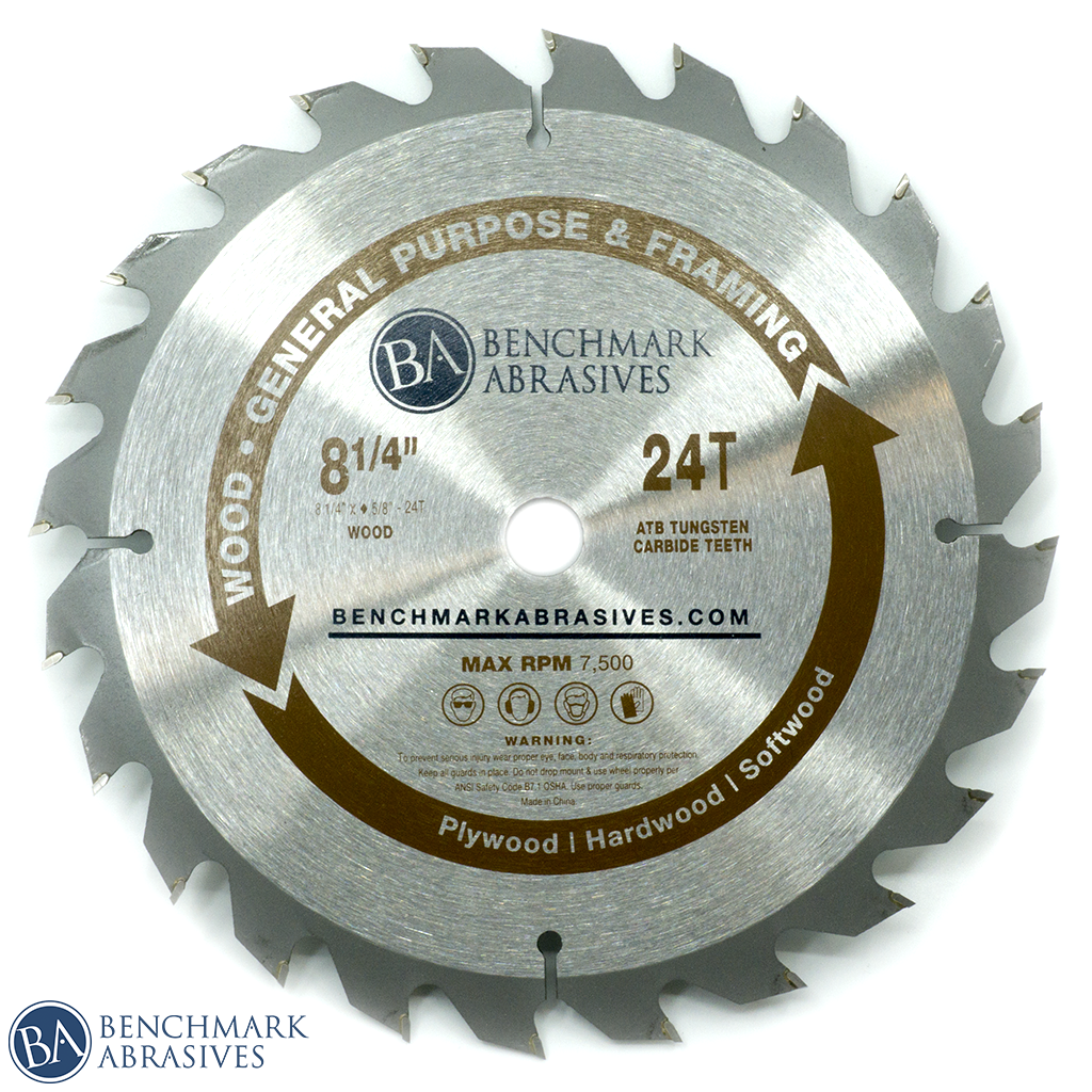 "8-1/4"" 24 Tooth TCT Saw Blade for General Purpose Cutting & Framing"