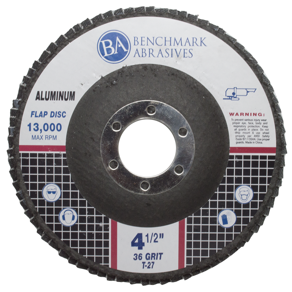 "4 1/2"" x 7/8"" T27 Flap Disc for Aluminum with Stearate Coating - 1 piece"