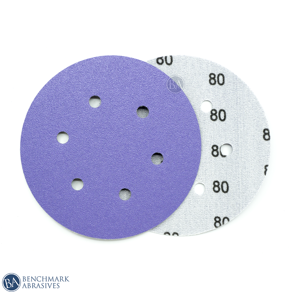 "6"" Premium Purple Film Backed 6 Hole Hook & Loop Discs - 50 Pack"
