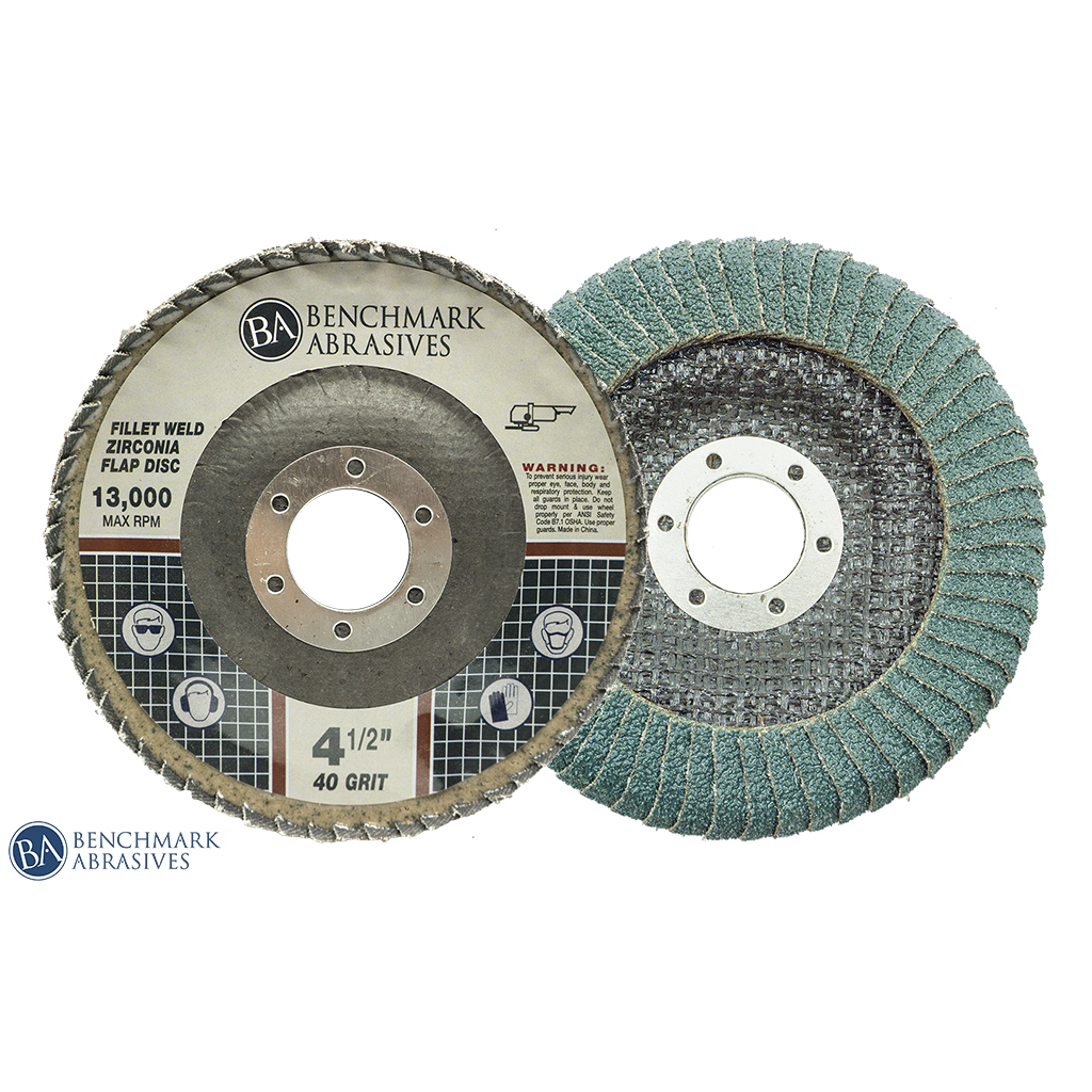 "4-1/2"" x 7/8"" T27 Curved Zirconia Flap Discs for Fillet Welds - 1 Piece"