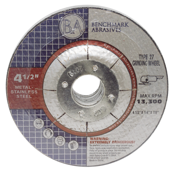 "4 1/2"" x 1/4"" x 7/8"" T27 Depressed Center Grinding Wheel - 25 pack"