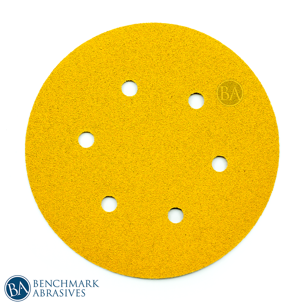 "6"" Gold A/O 6 Hole Hook & Loop Discs - 50 Pack"
